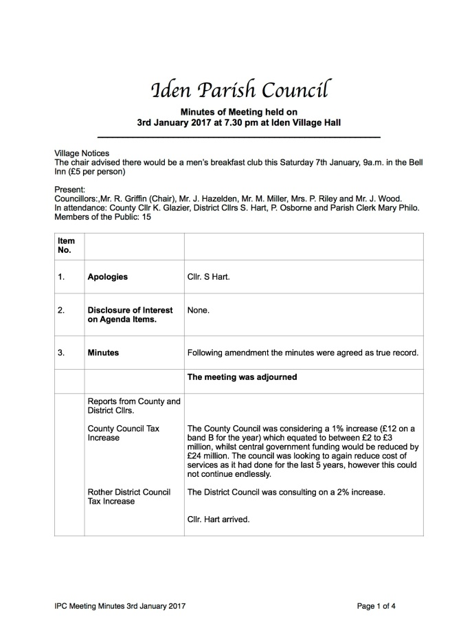 Iden Parish Council Meeting Minutes of 3rd January 2017   Iden ...