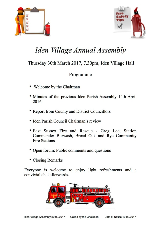 Iden Annual Village Assembly 30th March 2017 7.30pm village hall ...