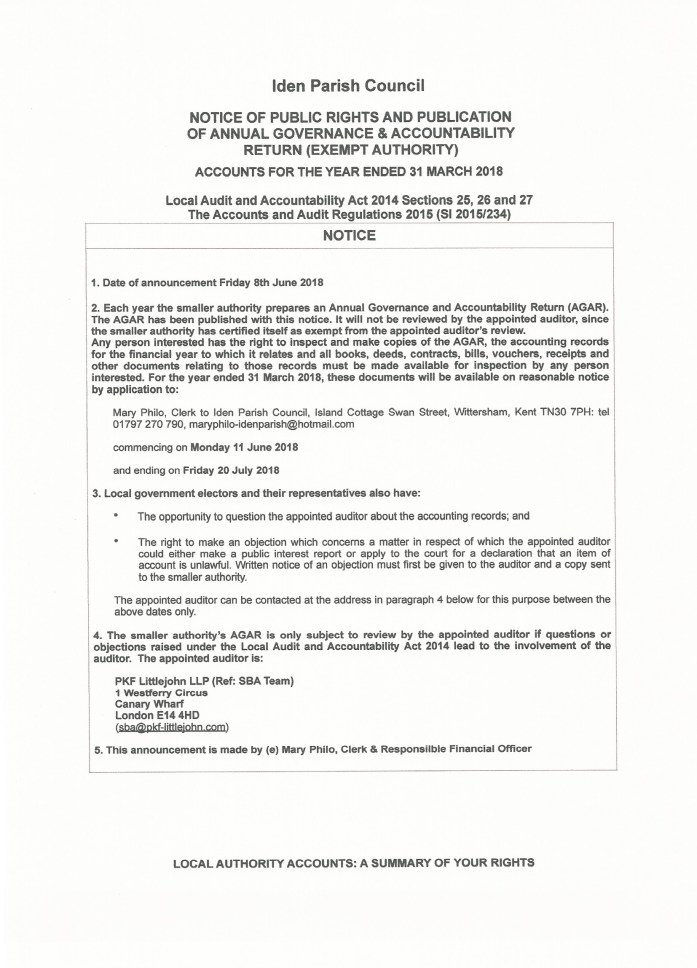 Iden Parish Council Notice of Public Rights and Publication of ...